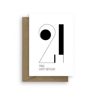 21st birthday card minimalist bb036 card