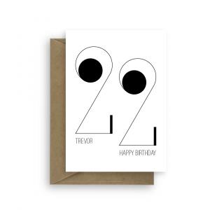 22nd birthday card minimalist bb037 card
