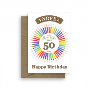 50th birthday card with candle statistics