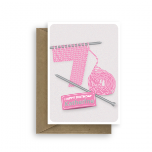 70th birthday card for female with knitted 7 and wool 0